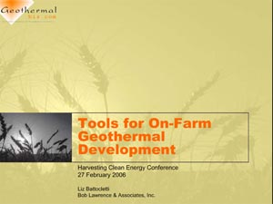 Tools for On-Farm Geothermal Development