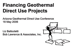 Financing Geothermal Direct Use Projects