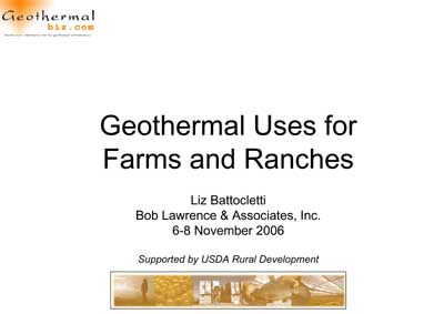 Geothermal Uses for Farms and Ranches