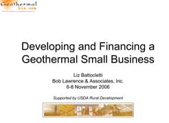 Developing and Financing a Geothermal Small Business