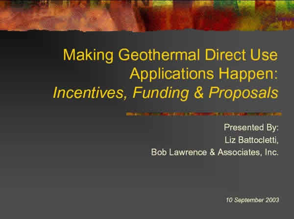 Making Geothermal Direct Use Applications Happen